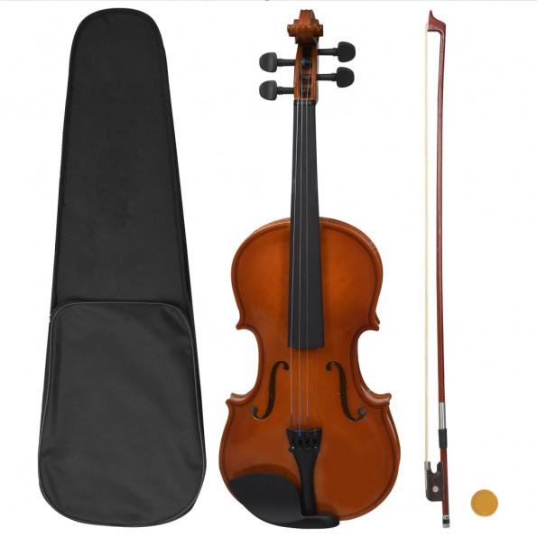 Violinsæt i fuld størrelse med bue og hagebræt mørkt træ 4/4