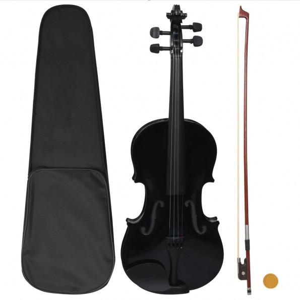 Violinsæt i fuld størrelse med bue og hagebræt 4/4 sort