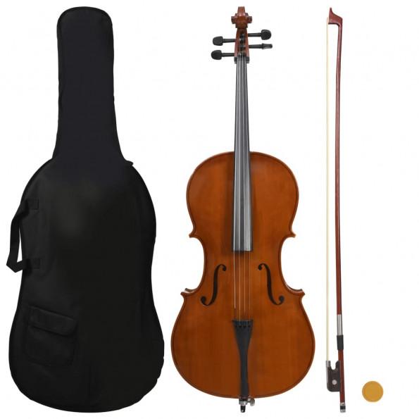 Cellosæt i fuld størrelse med taske og bue mørkt træ 4/4
