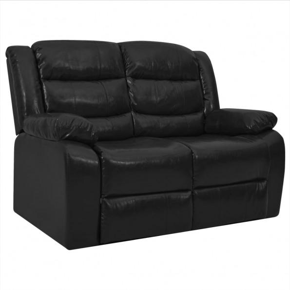 2-personers sofa lænefunktion kunstlæder sort