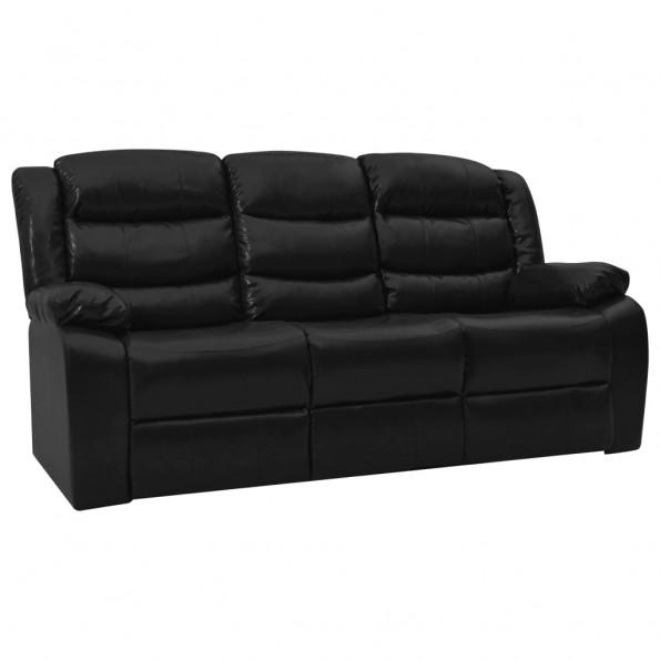 3-personers sofa lænefunktion kunstlæder sort