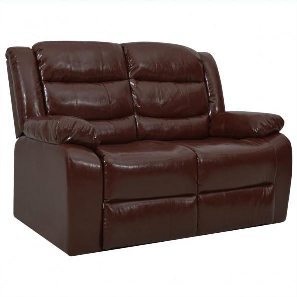 2-personers sofa med lænefunktion kunstlæder brun