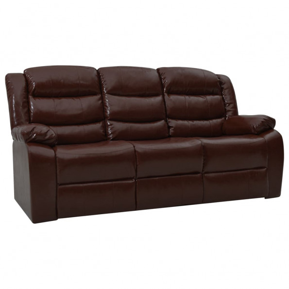 3-personers sofa med lænefunktion kunstlæder brun