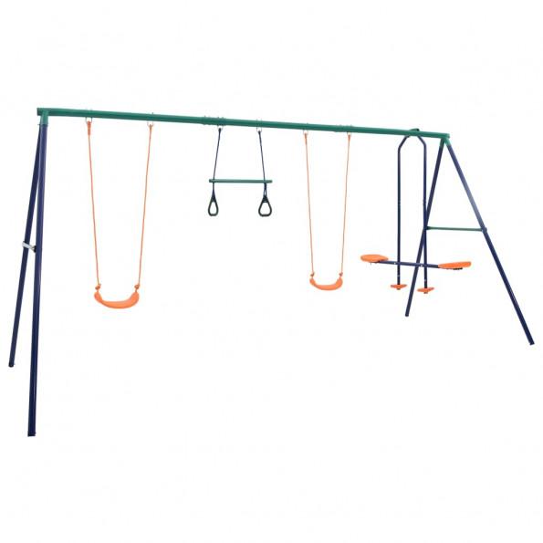 Gyngesæt med gymnastikringe og 4 sæder stål