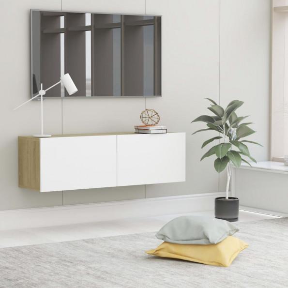 Tv-skab 100x30x30 cm spånplade hvid og sonoma-eg