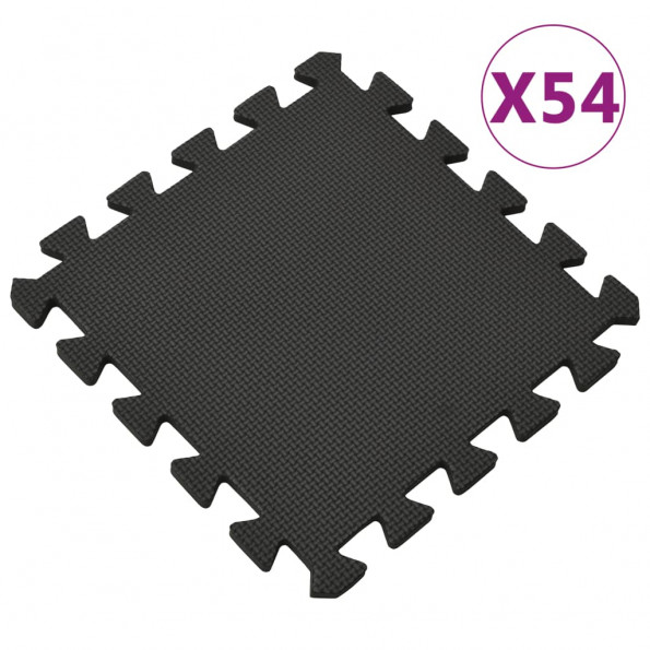 Gulvmåtter 54 stk. 4,86 ㎡ EVA-skum sort