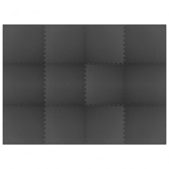 Gulvmåtter 12 stk. 4,32 ㎡ EVA-skum sort