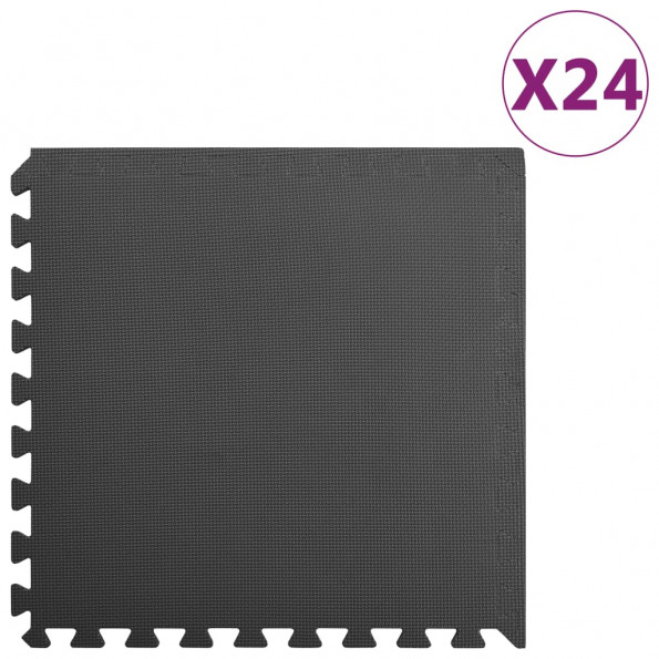 Gulvmåtter 24 stk. 8,64 ㎡ EVA-skum sort