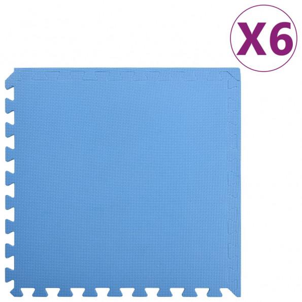 Gulvmåtter 6 stk. 2,16 ㎡ EVA-skum blå
