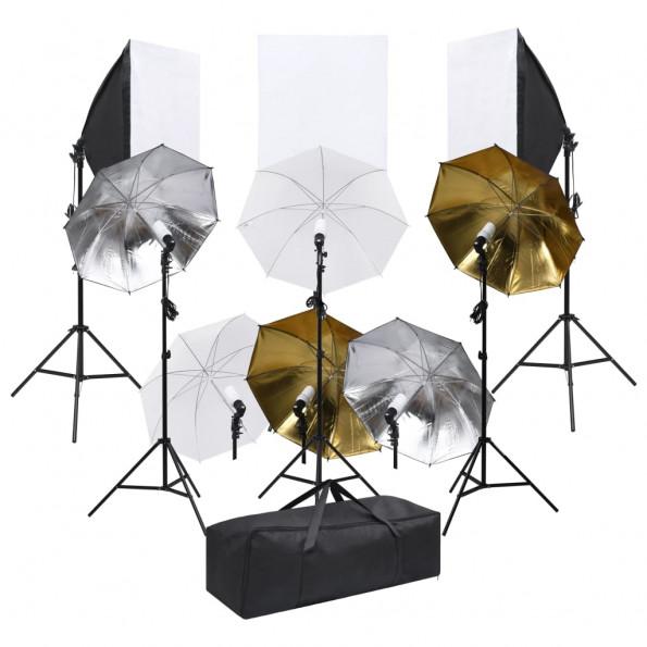 Fotostudieudstyr med lampesæt og softboxes