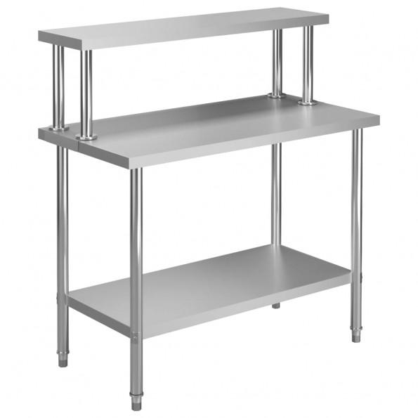 Arbejdsbord til køkken med tophylde 120x60x120 cm rustfrit stål