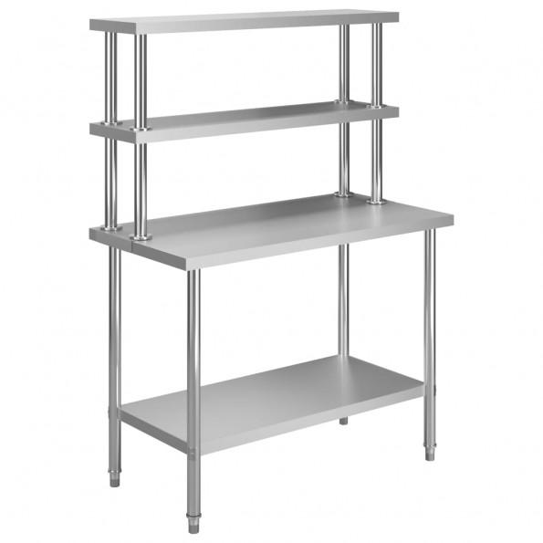 Arbejdsbord til køkken med tophylde 120x60x150 cm rustfrit stål