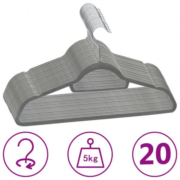 Bøjler 20 stk. skridsikre fløjl grå