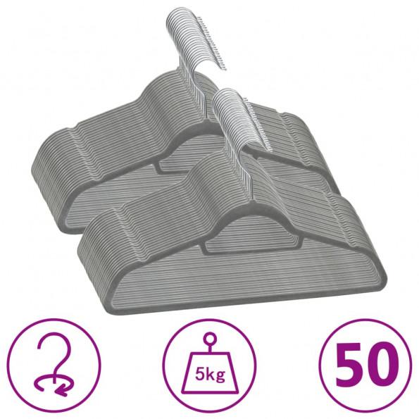 Bøjler 50 stk. skridsikre fløjl grå