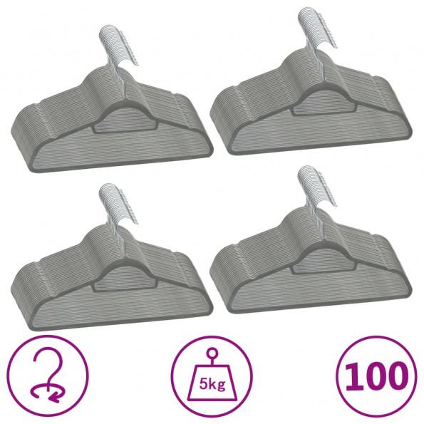 Bøjler 100 stk. skridsikre fløjl grå