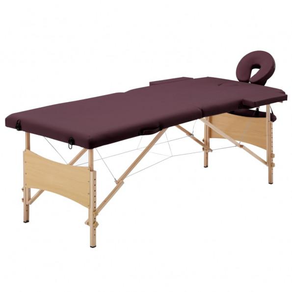 Foldbart massagebord 2 zoner træ lilla