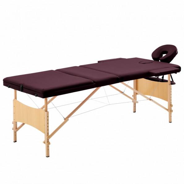 Foldbart massagebord 3 zoner træ lilla
