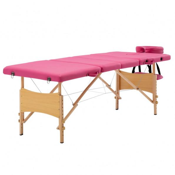 Foldbart massagebord 4 zoner træ pink