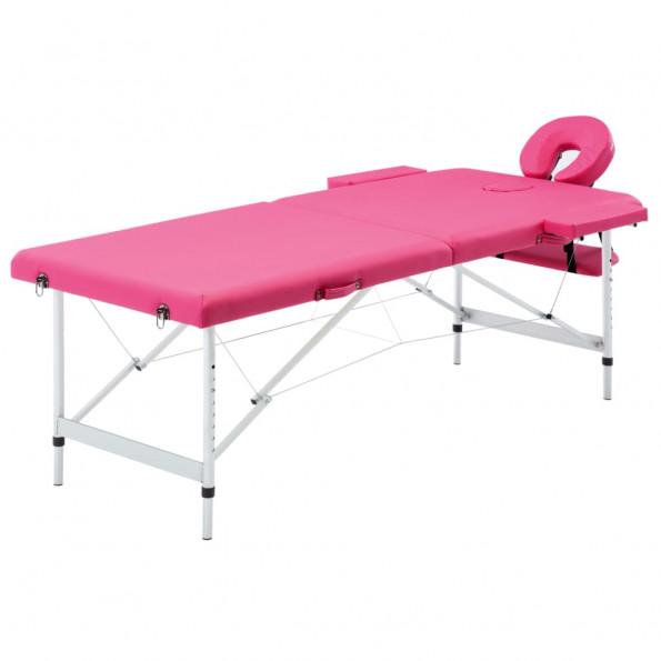 Foldbart massagebord 2 zoner aluminium pink
