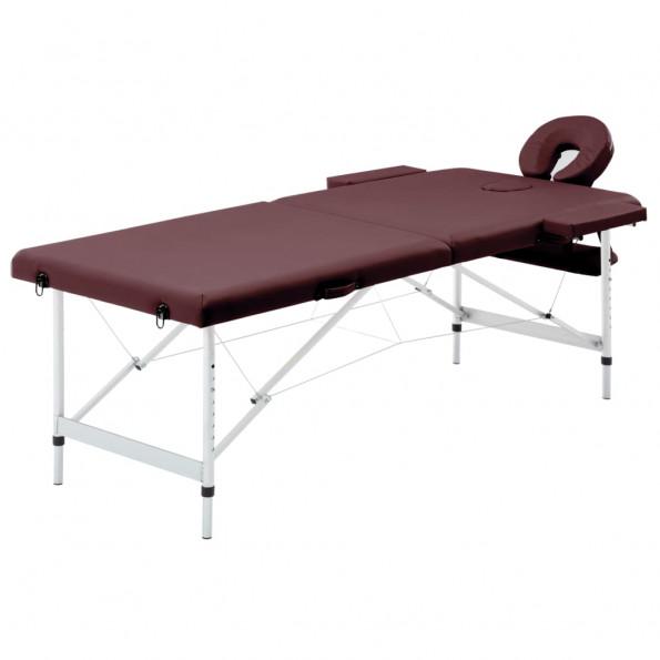 Foldbart massagebord 2 zoner aluminium lilla