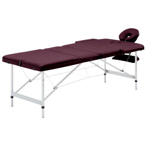 Foldbart massagebord 3 zoner aluminium lilla