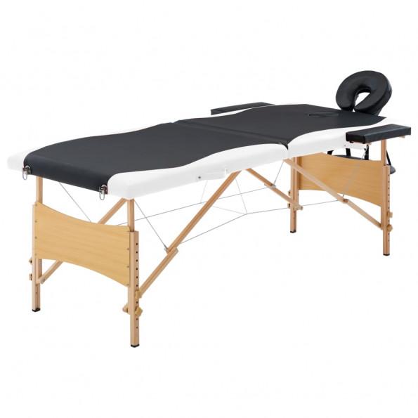 Foldbart massagebord 2 zoner træ sort og hvid