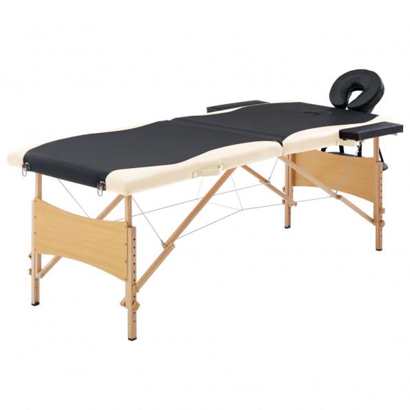 Foldbart massagebord 2 zoner træ sort og beige
