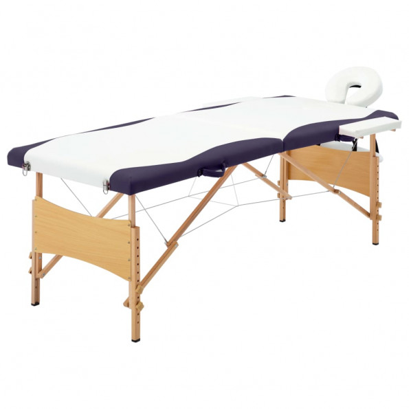 Foldbart massagebord 2 zoner træ hvid og lilla