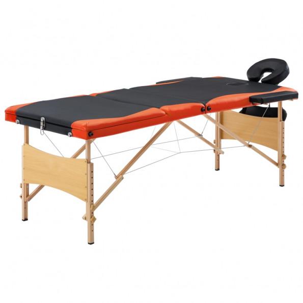 Foldbart massagebord 3 zoner træ sort og orange