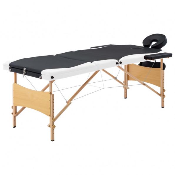 Foldbart massagebord 3 zoner træ sort og hvid