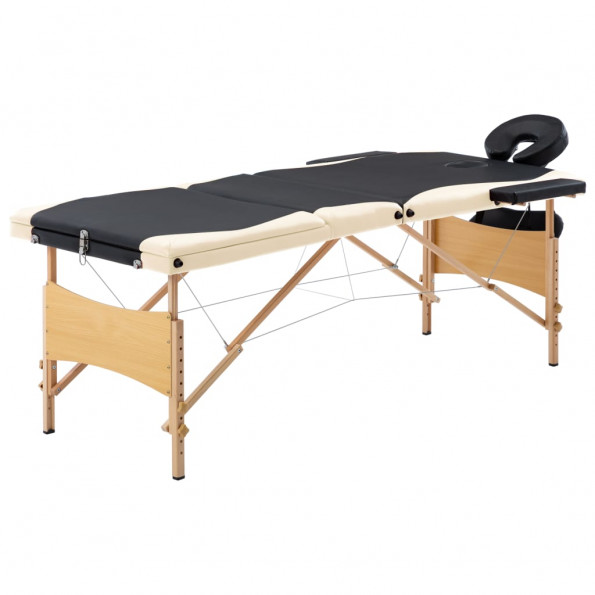 Foldbart massagebord 3 zoner træ sort og beige