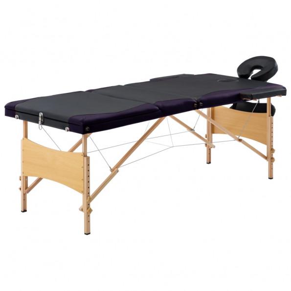 Foldbart massagebord 3 zoner træ sort og lilla