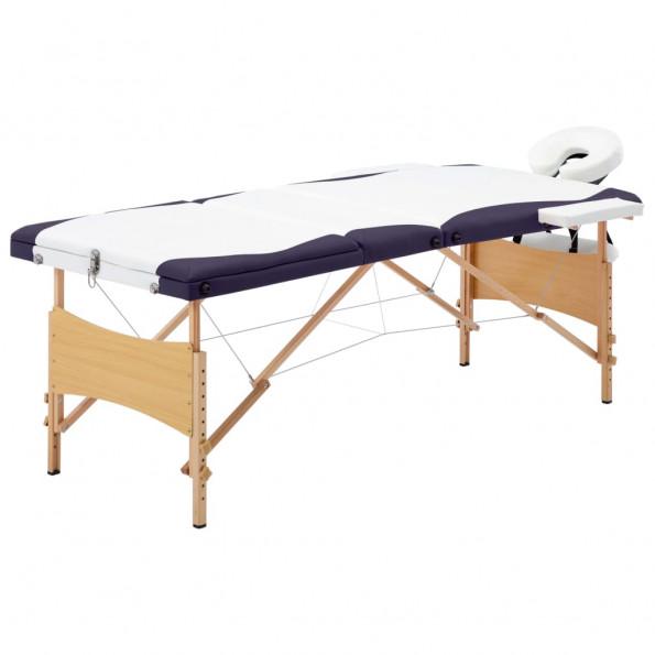 Foldbart massagebord 3 zoner træ hvid og lilla