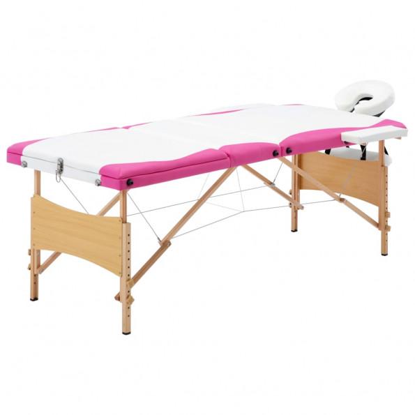 Foldbart massagebord 3 zoner træ hvid og pink
