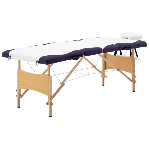 Foldbart massagebord 4 zoner træ hvid og lilla
