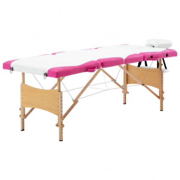 Foldbart massagebord 4 zoner træ hvid og pink
