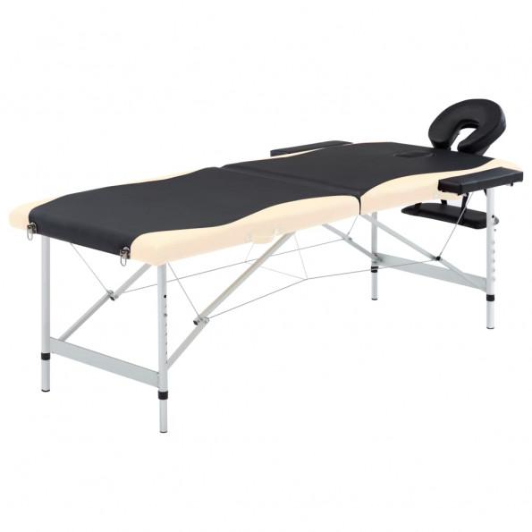 Foldbart massagebord 2 zoner aluminium sort og beige
