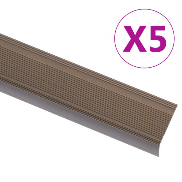 5 stk. trappelister L-facon 90 cm aluminium brun