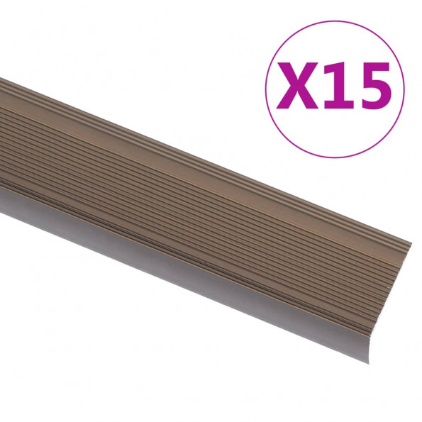 15 stk. trappelister L-facon 90 cm aluminium brun