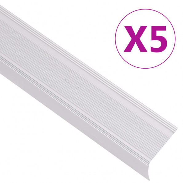 5 stk. trappelister L-facon 100 cm aluminium sølvfarvet