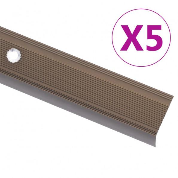 5 stk. trappelister L-facon 100 cm aluminium brun