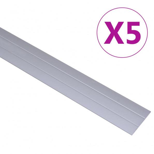 5 stk. gulvlister 90 cm aluminium sølvfarvet