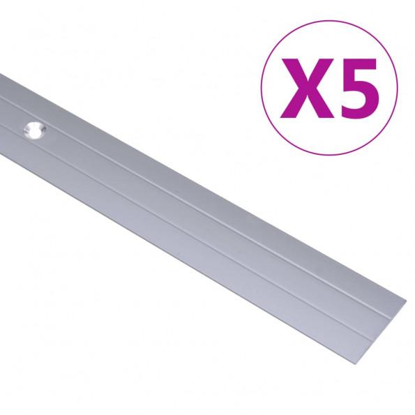 5 stk. gulvlister 100 cm aluminium sølvfarvet