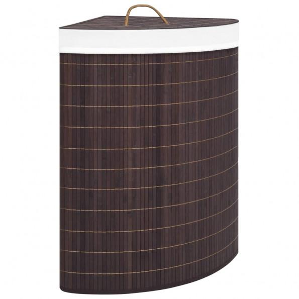 Hjørnevasketøjskurv 60 l bambus brun