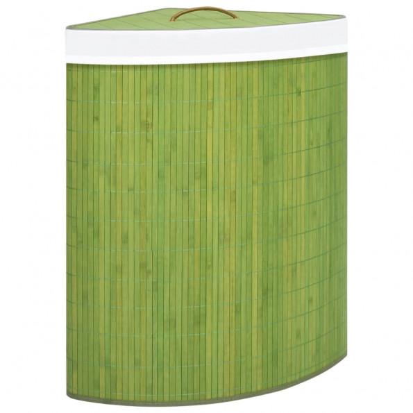 Hjørnevasketøjskurv 60 l bambus grøn