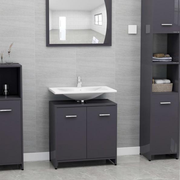 Badeværelsesskab 60x33x58 cm spånplade grå højglans