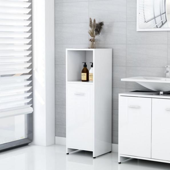 Badeværelsesskab 30x30x95 cm spånplade hvid højglans