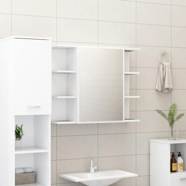 Badeværelsesskab med spejl 80x20,5x64 cm spånplade hvid
