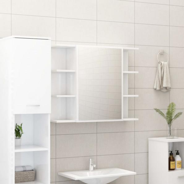 Badeværelsesskab m. spejl 80x20,5x64 cm spånplade hvid højglans