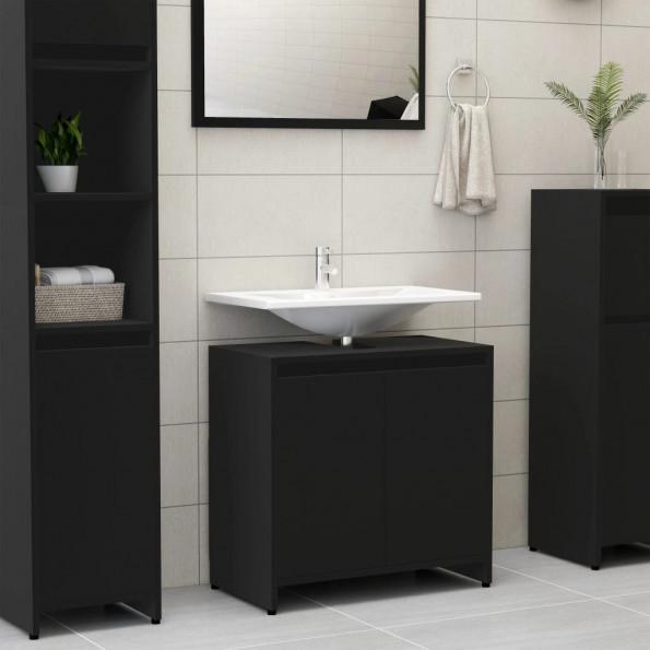 Badeværelsesskab 60x33x58 cm spånplade sort